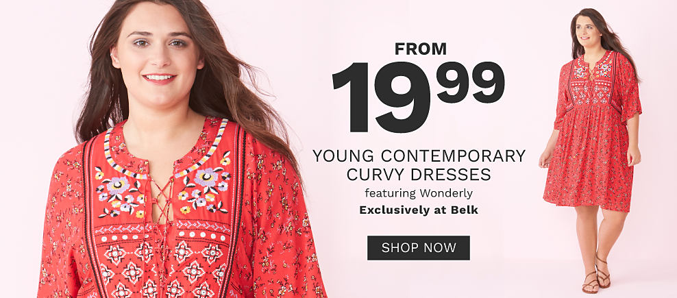 A young woman wearing a red short sleeved dress with a multi colored bandana print. From $19.99 young contemporary curvy dresses featuring Wonderly. Exclusively at Belk. Shop now.