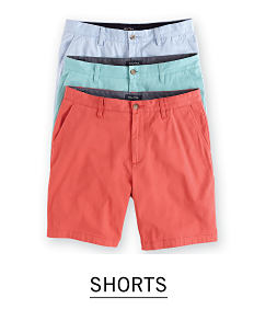 An assortment of men's shorts in a variety of colors. Shop shorts.