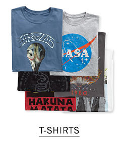 An assortment of men's graphic T shirts in a variety of colors, prints & styles. Shop T shirts.