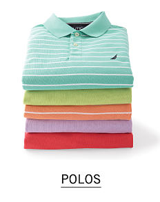 A stack of folded men's polos in a variety of colors & prints. Shop polos.