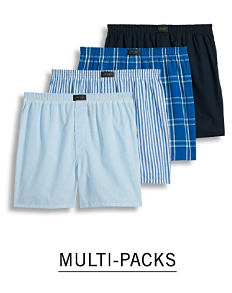 An assortment of men's boxer shorts in a variety of colors, prints and styles. Shop multi packs.