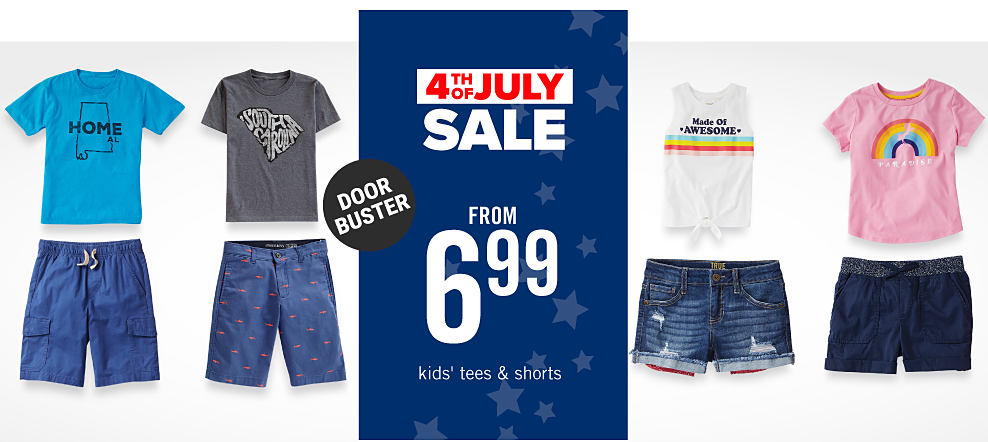 790723b0 An assortment of boys & girls graphic tees & shorts in a variety of colors &