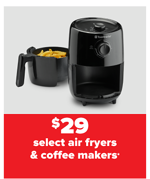 A black Toastmaster air fryer with French fries inside. $29 Toastmaster air fryer.