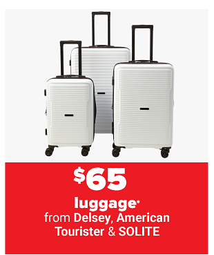 Three silver hardsided rolling luggage pieces. From $50 luggage.