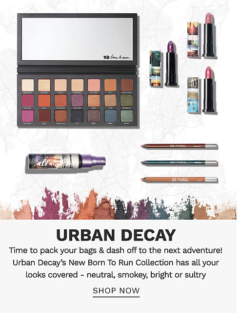 An eyeshadow palette, a bottle of All Nighter makeup setting spray, 3 tubes of lipstick and 3 colored pencils. Urban Decay. Time to pack your bags and dash off to the next adventure! Urban Decay's New Born To Run Collection has all your looks covered - neutral, smokey, bright or sultry. Shop now.