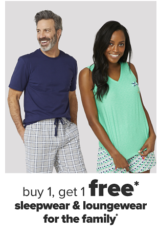 A man in a navy blue shirt and checkered pajama pants. A woman in a mint green tank top and blue patterned pajama shorts. Buy one, get one free sleepwear and loungewear for the family.