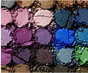 An array of different eyeshadow colors.