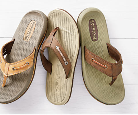 Three different styles of men's Sperry sandals.