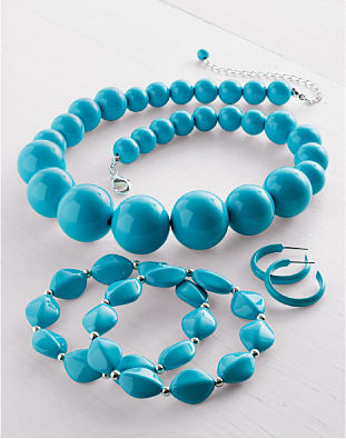 Chunky blue fashion jewelry from Kim Rogers.