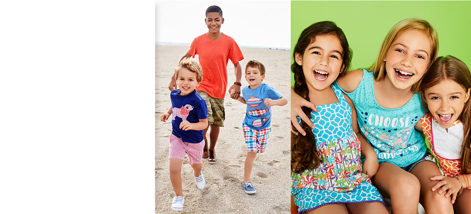 A group of boys run on the beach wearing shorts and t-shirts. Three girls wear colorful summer fashion.