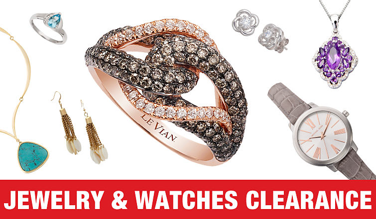 A variety of jewelry and watches on clearance.