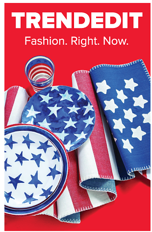 A collection of red, white and blue Americana table top decor and dinnerware. Trend Edit. Fashion. Right. Now.