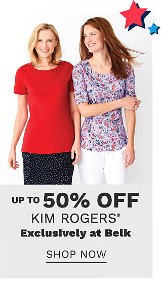 A woman wearing a red short sleeved top & a black skirt with white dots standing next to a woman wearing a multi colored print short sleeved top & white pants. Up to 50% off Kim Rogers. Exclusively at Belk. Shop now.