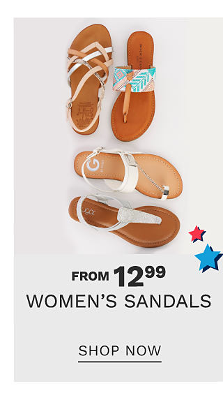 An assortment of women's sandals in a variety of colors & styles. From $12.99 women's sandals. Shop now.