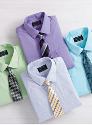 An assortment of dress shirts and ties in a variety of colors. Shop dress shirts.
