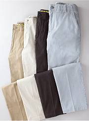 An assortment of men's pants in various colors. Shop pants.