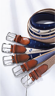 An assortment of belts and suspenders. Shop belts and suspenders.