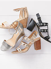 An assortment of heels in different colors and styles. Shop heels.