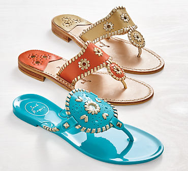 Three pairs of Jack Rogers summer sandals.