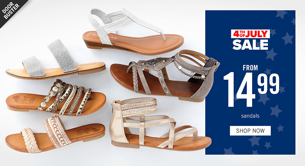 9feb9adc3a An assortment of women's sandals in a variety of colors & styles. 4th of  July
