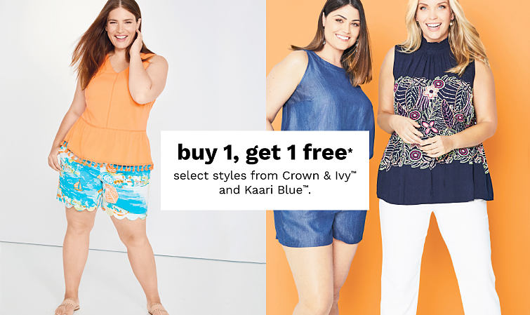 One woman wearing printed shorts with a bright orange top and two other women standing together wearing summer clothing from Kaari Blue.