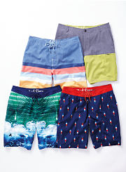 An assortment of colorful swim trunks. Shop swimwear.