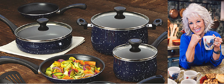 An assortment of cookware in dark blue, white-flecked finish. A picture of Paula Deen holding a rooster mug.