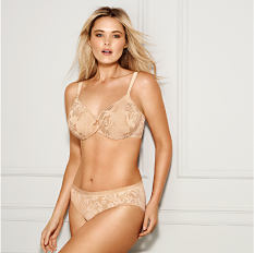 A woman wearing a beige lace bra & matching panties. Shop full figure.