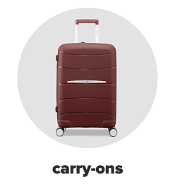 A burgundy hard sided rolling briefcase. Carry-ons.