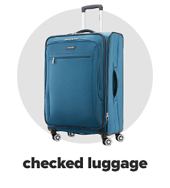 A large, soft sided blue rolling briefcase. Checked luggage.