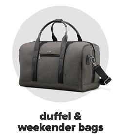 A gray duffel bag. Duffel and weekender bags.