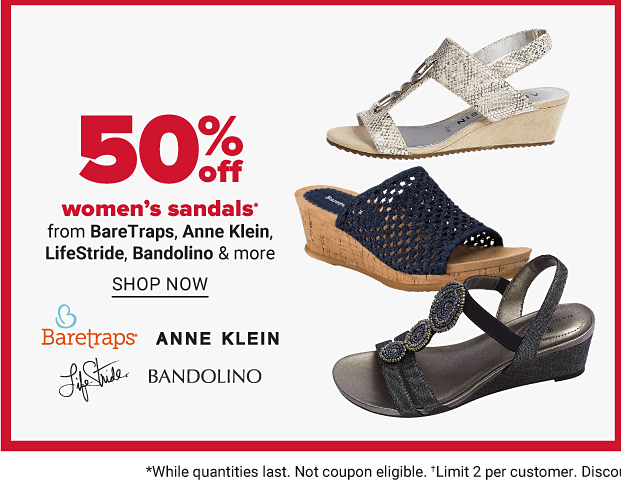 Various summer sandals. 50 percent off women's sandals from Baretraps, Anne Klein, Lifestride, Bandolino and more. Shop now.
