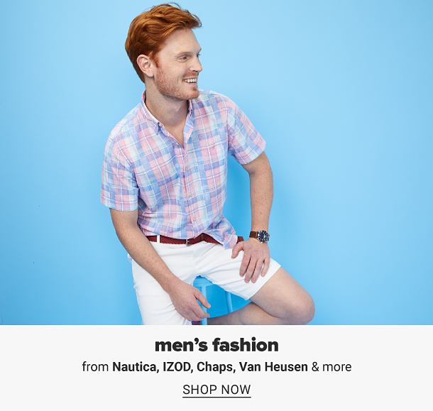 A man in a pink, white and blue plaid short sleeve dress shirt, khaki shorts and a brown belt. Men's fashion from Nautica, Izod, Chaps, Van Heusen and more. Shop now.