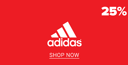25% off activewear for the family. The adidas logo, shop now. The Champion logo, shop now. The puma logo, shop now.