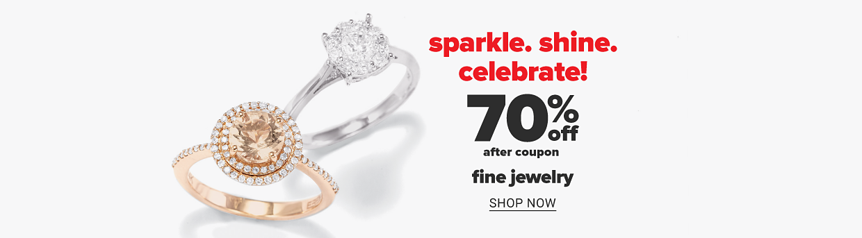 A rose gold diamond ring and a white gold diamond ring. Sparkle, shine, celebrate! 70% off, after coupon, fine jewelry. Shop now.