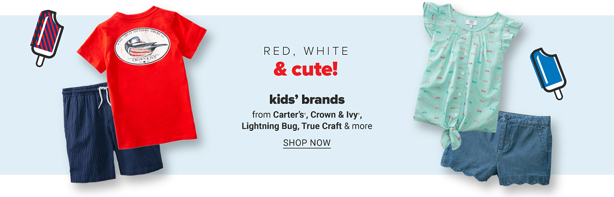 A boy's red graphic tee and navy shorts. A little girl's top with buttons and blue shorts. Red, white and cute! Kids' brands from Carter's, Crown and Ivy, Lightning Bug, True Craft and more. Shop now.