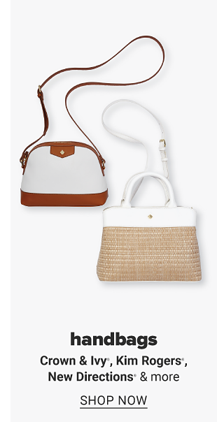 A white crossbody bag with brown trim and a beige woven handbag with white trim. Handbags, Crown and Ivy, Kim Rogers, New Directions and more. Shop now.