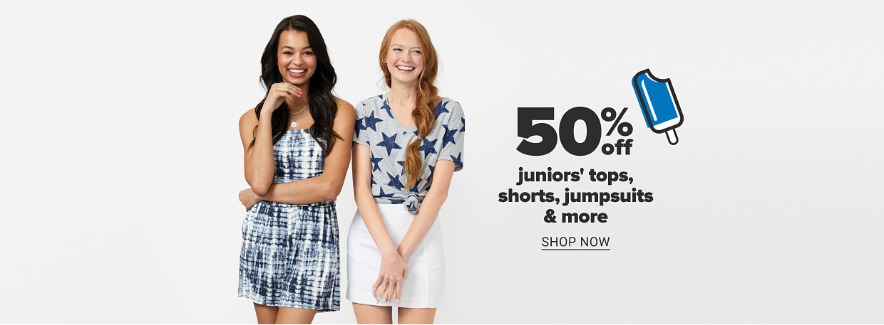 A young woman in a sleeveless blue and white abstract print dress. A young woman in a gray and navy star print tee and a white skirt. Show off your stars and styles. Juniors' tops, shorts, jumpsuits and more. Shop now.
