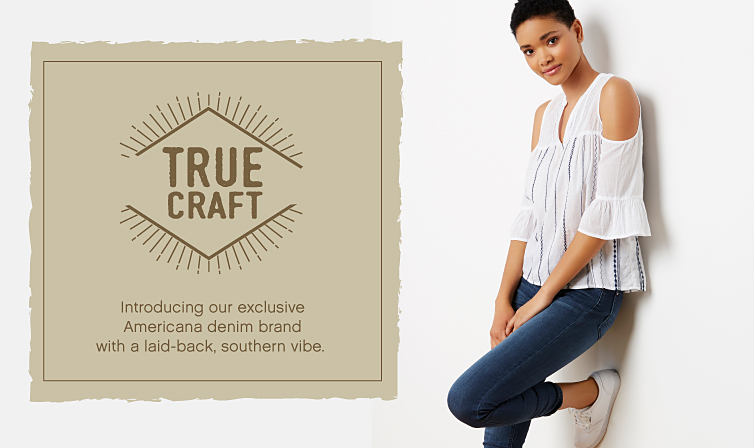 A young woman wearing a casual outfit from True Craft.