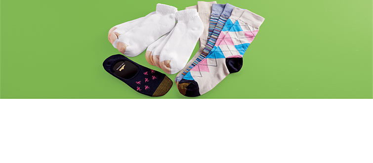An assortment of men's dress, casual and athletic socks.