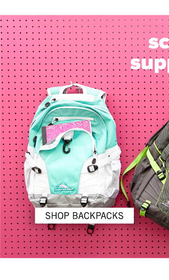 An assortment of backpacks in a variety of colors & styles