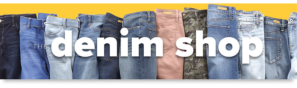 An assortment of jeans in a variety of colors & styles The Denim Shop.