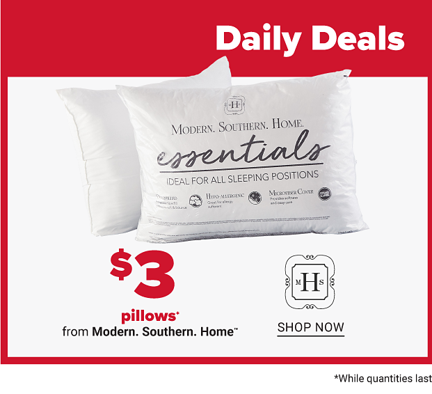 Daily Deals. image of two pillows in packaging. $3 pillows from Modern Southern Home. shop now. $32 1200-thread count 6-pc sheet sets from Modern Southern Home. shop now
