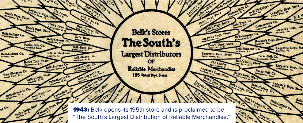 An old Belk ad. Belk's Stores, the south's largest distributors of reliable merchandise. 1943: Belk opens its 195th store and is proclaimed to be the South's largest distributors of reliable merchandise.