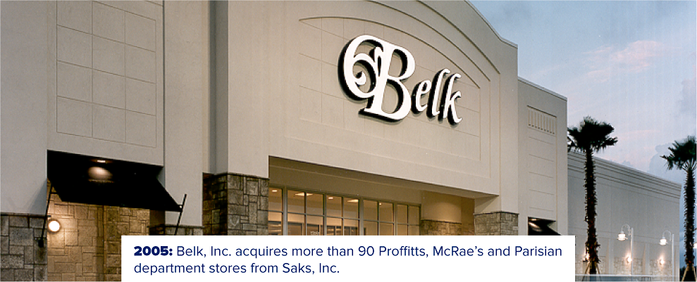 A Belk storefront with palm trees outside. 2005. Belk acquires more than 90 Profitts, McRae's and Parisian department stores from Saks, Inc.