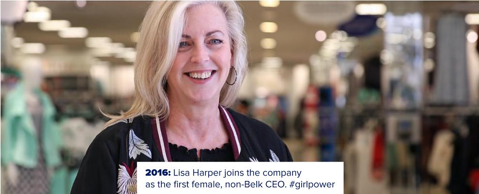 Lisa Harper, CEO of Belk. 2015. Lisa Harper joins the company as the first female, non-Belk CEO. #girlpower
