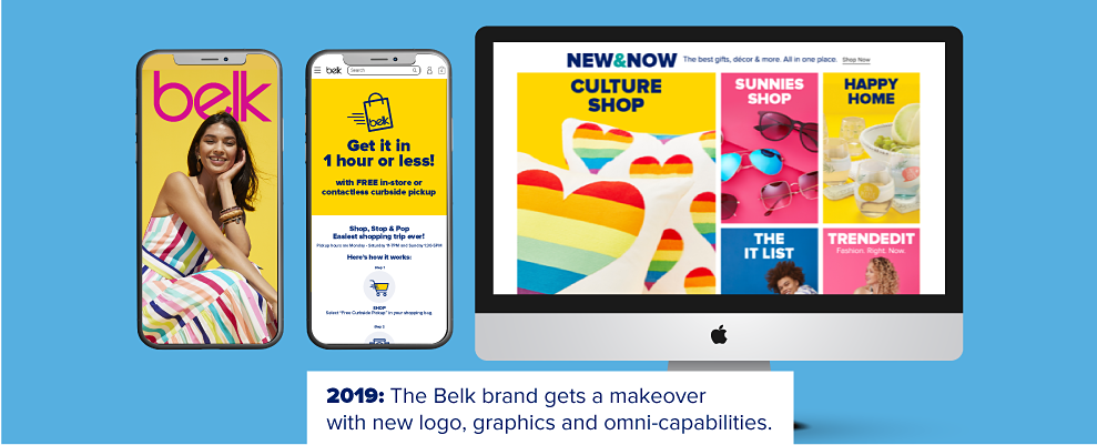 Phones showing the Belk website and app. 2019. The Belk brand gets a makeover iwth new logo, graphics and omni-capabilities.