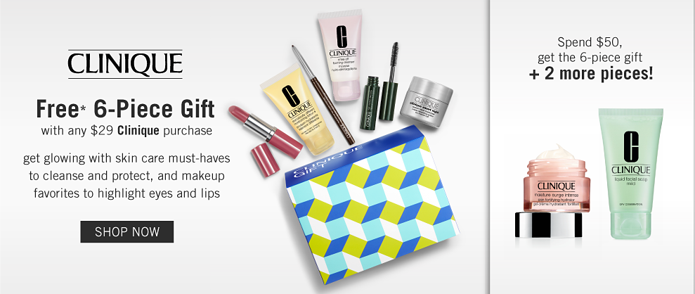 561b5faf918 A box and a variety of Clinique beauty products. Clinique. Free 6-piece