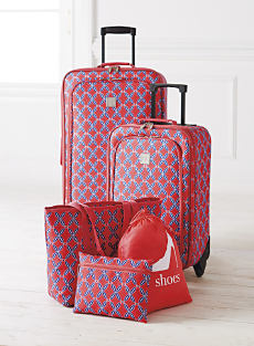 A Red And Blue Patterned Five Piece Luggage Set Shop Luggage