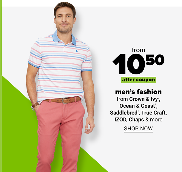 Man in pastel blue and pink striped polo with light blue collar and coral colored pants with tan belt. From 10.50 after coupon men's fashion from Crown and Ivy, Ocean and Coast, Saddlebred, True Craft, Izod, Chaps and more. Shop now.